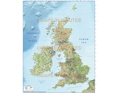 British Isles Map Illustrator AI vector format. County and Road map with Regular colour Relief 5m scale
