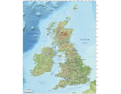 5M scale British Isles Regular Relief map