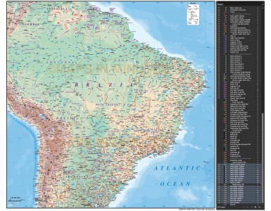 Digital vector Brazil map, Deluxe Political Road & Rail Map showing land & sea floor relief contours plus 1st level borders and names