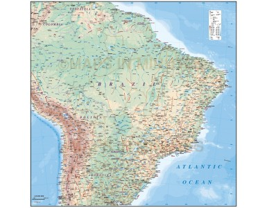 Vector Brazil map, Deluxe Road & Rail Map with land & sea floor contours plus Country borders