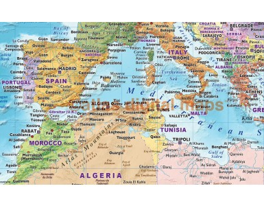 Contemporary Political coloured Relief Vinyl World Wall Map with Bold fonts, 60 inches wide x 38 inches deep