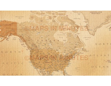 World Political Wall Mural - Large size 4 Piece Map detail