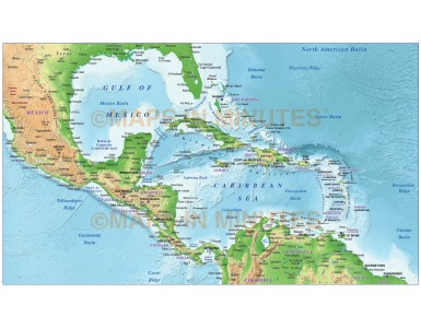 Caribbean relief map @10m scale showing land and ocean floor relief