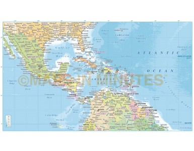 Central America & Caribbean Political Map with Ocean floor contours in Illustrator CS and PDF formats