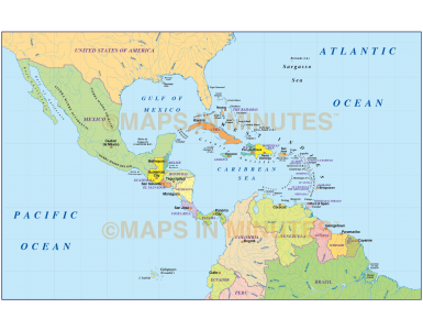 Digital vector map, Simple Central America and Caribbean Political Map @10m scale in Illustrator format.