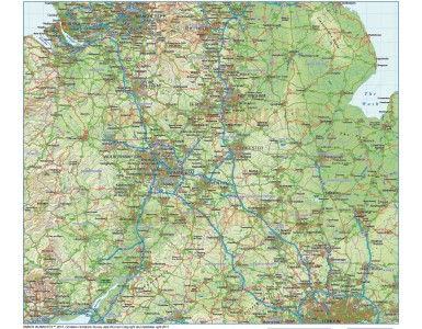 Central England County Road & Rail Map with Regular relief @1,000,000M scale