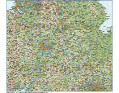 Digital vector Central England Map with Roads and Regular 300dpi Regular relief 1:500,000 scale Relief option