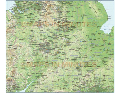 Digital vector Central England County Map with regular relief @1m scale