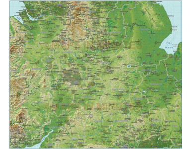 Central England County Map plus Strong colour relief @1m scale