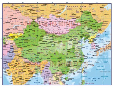 Digital vector China Political Country Map @10m scale showing first level Province fills turned on