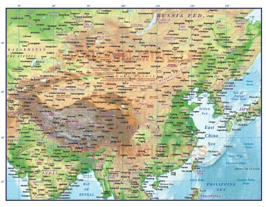 Digital vector China Political Country map @10m scale showing land and ocean floor relief