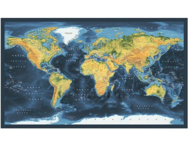 Dark style Contemporary Vinyl World Wall Map 72 inches wide x 38 inches deep