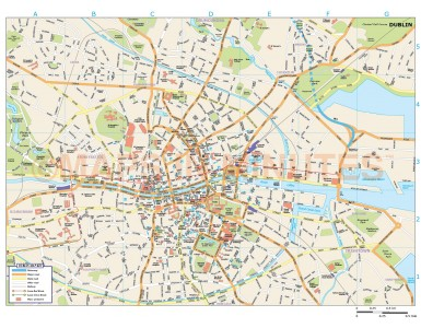 Dublin City map in Illustrator CS or PDF format