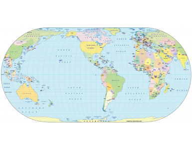 Digital vector World Map, Eckert IV projection small scale US-centric Political