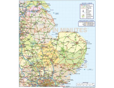East England County Road and Rail Map @1,000,000 scale