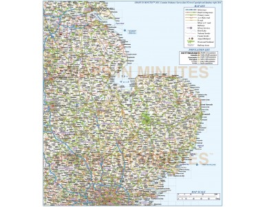 Vector England map. Digital East England County, Road and Railways Map. Fully layered and editable in Illustrator & PDF formats.
