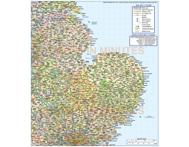 Vector digital East England 1st level County Political Road and Rail Map @750,000 scale