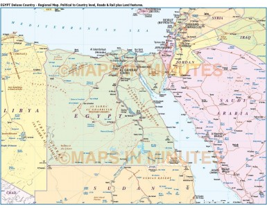 Egypt Country Map plus Road and Rail
