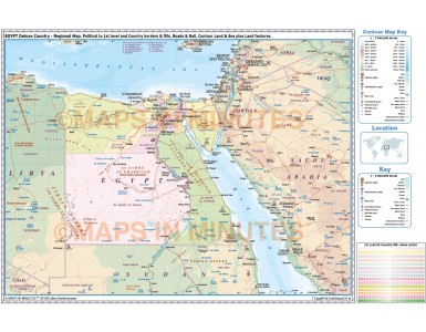 Egypt digital vector political, road & rail map in Illustrator and pdf format, royalty free.
