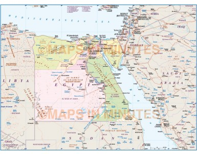 Egypt Deluxe Map 1st level Political with Roads and Rail