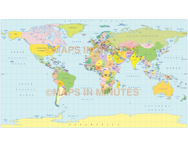 Digital vector world map Equirectangular Projection. Regular colour country fills