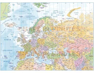 Eurasia Political Map with ocean contours, in Illustrator CS versions