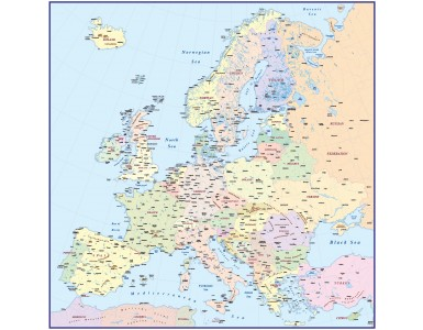 Basic Europe map, Illustrator CS vector format, Fully editable in Lamberts Conic Projection @1:4,000,000 scale