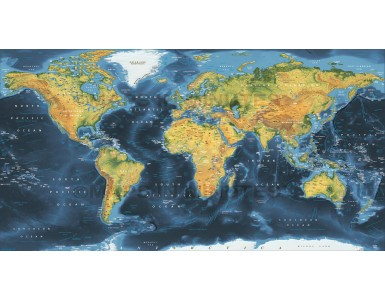Dark style Framed Canvas Physical Relief World Map. Large size 72 inches wide x 38 inches deep