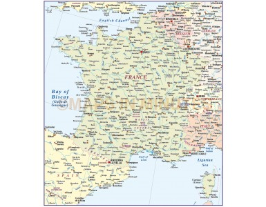 France Basic map at 4,000,000 scale in Illustrator CS formats