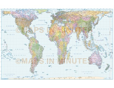 Digital vector map, Gall Orthographic Projection Political World Map (UK centric) @10M scale