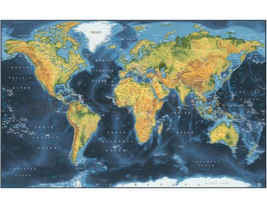 Dark style Contemporary Canvas World Wall Map 60 inches wide x 38 inches deep