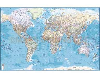 Political with Ocean floor contours Vinyl World Wall Map 60 inches wide x 38 inches deep