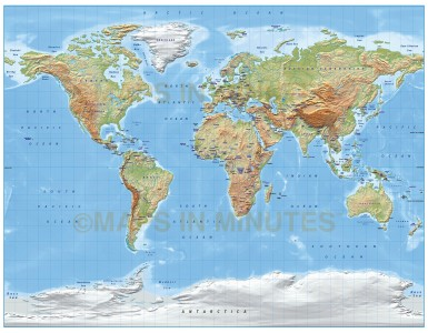 Digital vector World relief Map, Gall Projection in regular colours, UK-centric,  royalty free in Liiustrator format.