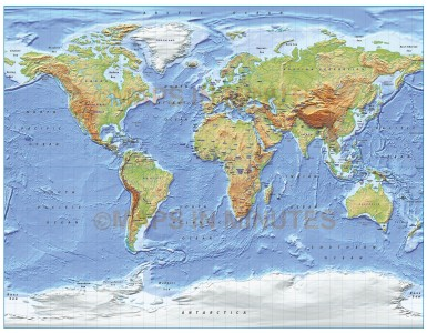 Digital vector World relief Map, Gall Projection in regular & medium colours, UK-centric,  royalty free in Iliustrator format.