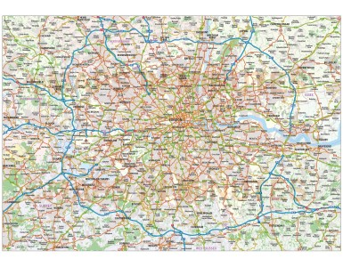 Vector Greater London-M25 County & Road map @250k scale in AI Illustrator CS formats