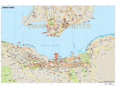 Hong Kong city map in Illustrator CS or PDF format