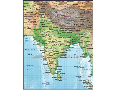 India Regular colour Relief map @20m scale with High & Low res relief
