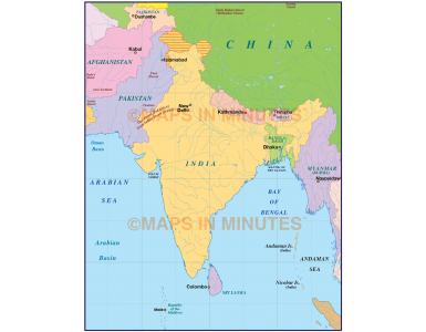 India simple political map in Illustrator and PDF format