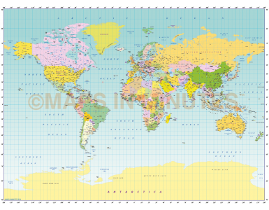 Digital vector world map Miller projection in Illustrator format.