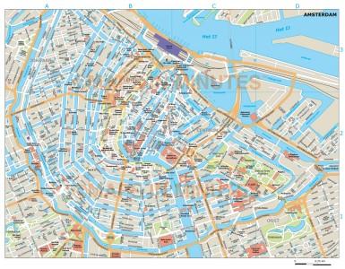 Vector Amsterdam city map in Illustrator and PDF digital formats