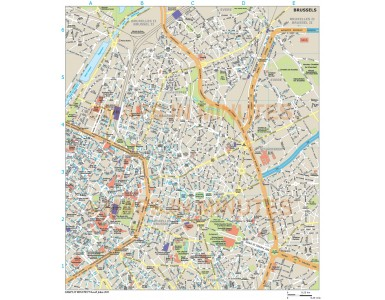 Brussels city map in Illustrator CS or PDF format area