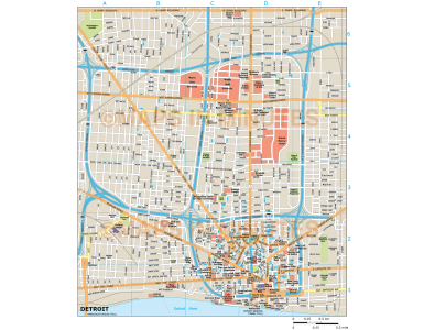 Detroit city map in Illustrator CS or PDF format