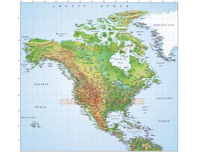 Digital vector North America Medium Relief map in Illustrator format