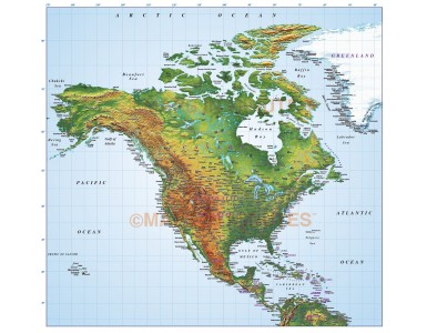 North America Medium Relief map in Illustrator format