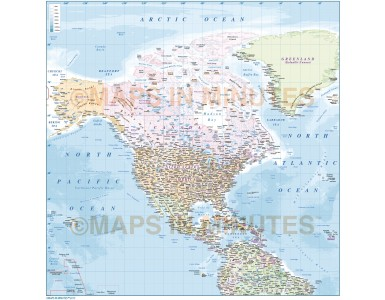 North America regional map with country insets & ocean floor contour layers. Available in Illustrator CS formats