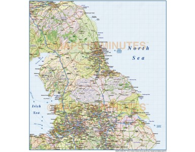 Vector North England County Road and Rail Map @1m scale with shaded relief layer on