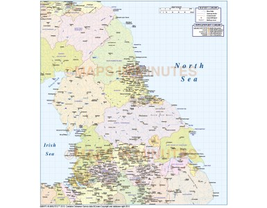 North England 1st level Political Map @1,000,000 scale