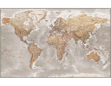 """Framed CANVAS Antique-style Stone World Map - Size 60""""w x 38""""d."""