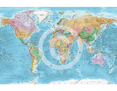 """Framed CANVAS Political Relief World Map - Size 60""""w x 38""""d"""