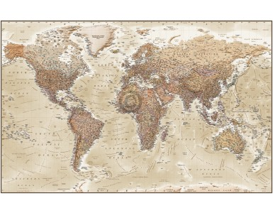 "Framed CANVAS World Map Antique-style Tan and Sand - Size 60""w x 38""d."